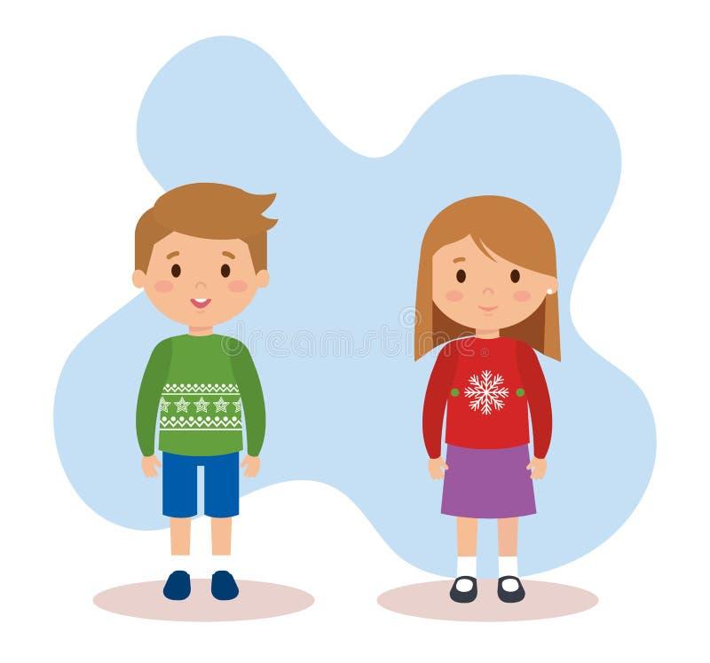 Дети пар с одеждами в декабре иллюстрация вектора