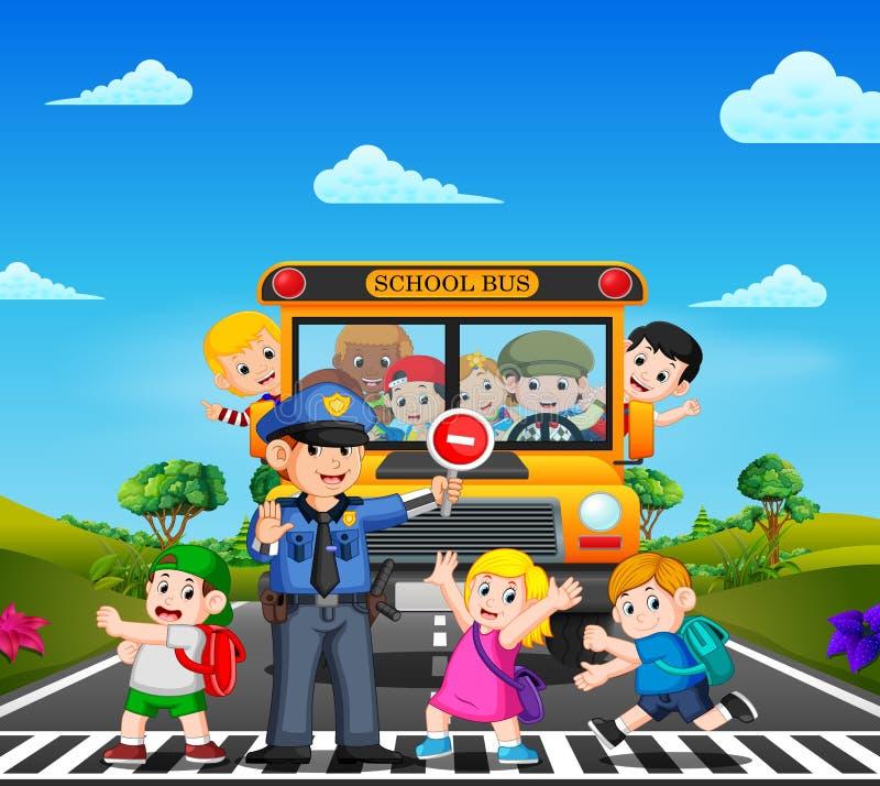 Дети пересекают дорогу пока полиция останавливает школьный автобус и развевать детей иллюстрация вектора