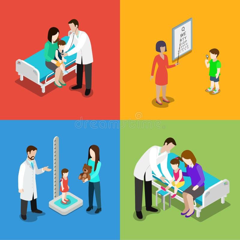 Дети педиатра медицины врачуют вектор плоское 3d больницы бесплатная иллюстрация