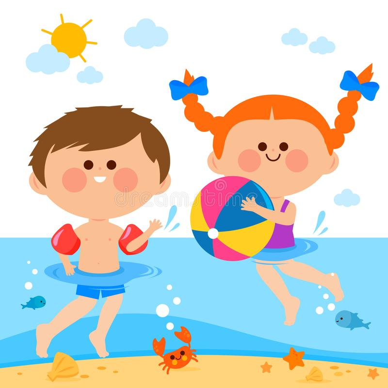 Дети плавая в море иллюстрация вектора