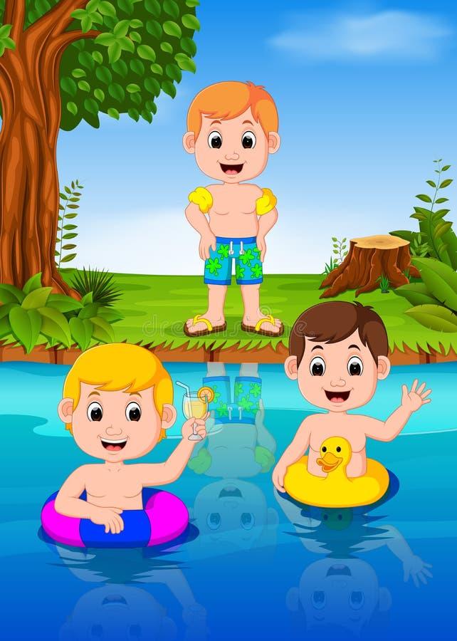 Дети плавая в реке иллюстрация вектора