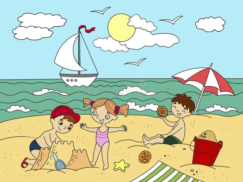Дети плавая на пляже и игре с иллюстрацией игрушек Море, пляж, дети, игрушка, птица, песок, мороженое и лето иллюстрация вектора