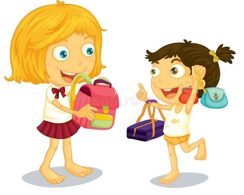 дети получая готовую школу иллюстрация штока