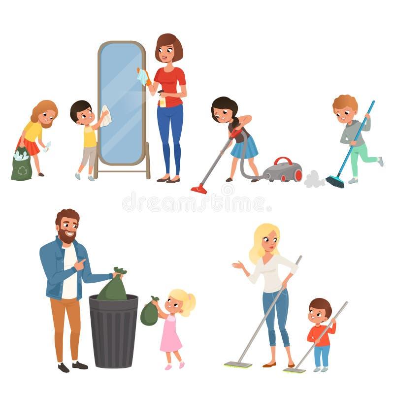 Дети помогая их родителям с домашним хозяйством Подметающ, вакуумирующ, моя пол, бросающ вне отброс, очищая зеркало иллюстрация штока