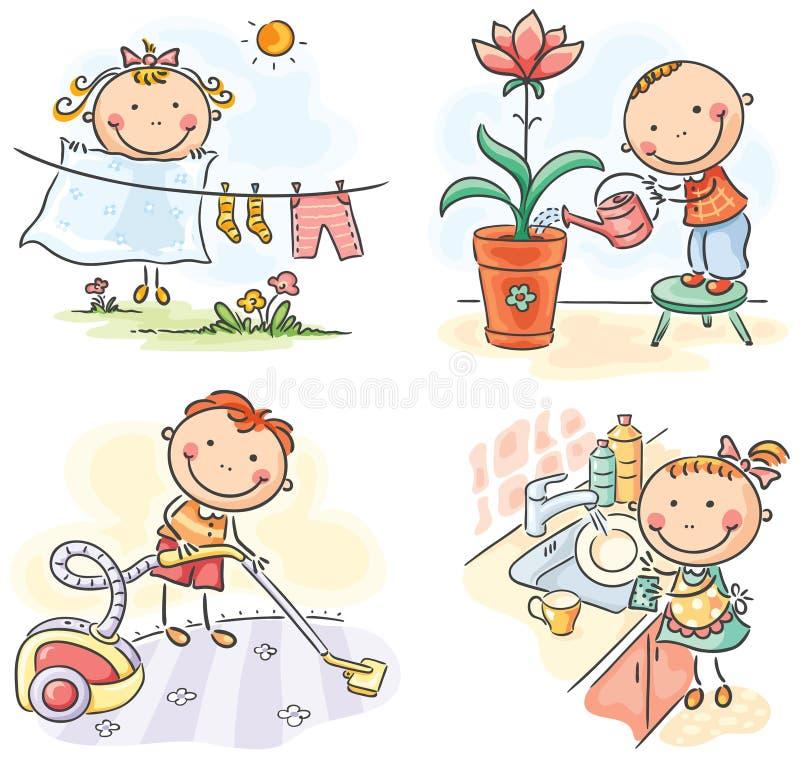 Дети помогая их родителям бесплатная иллюстрация