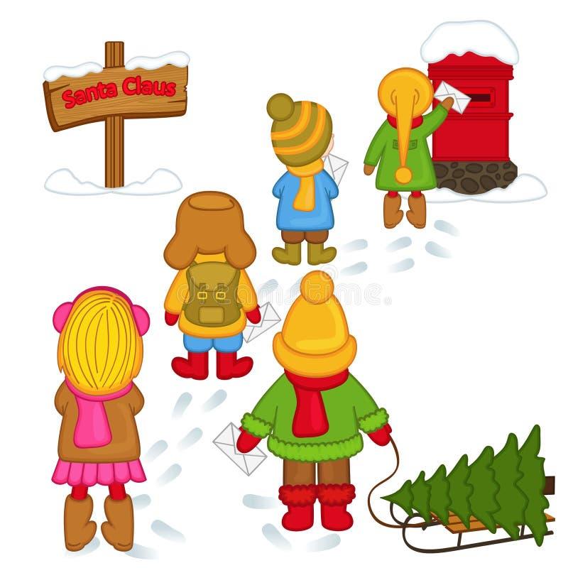 Дети посылают письма к Санта Клаусу иллюстрация штока