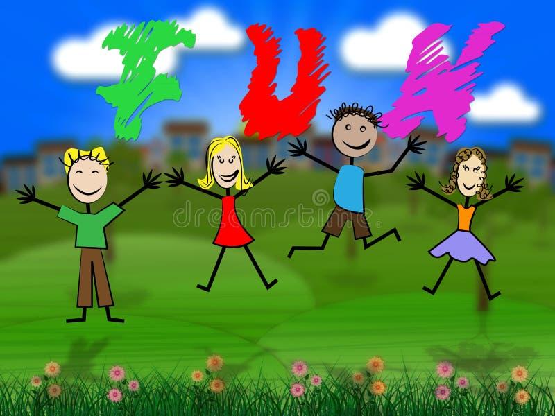 Дети потехи представляют exciting молодости и возбудили иллюстрация штока