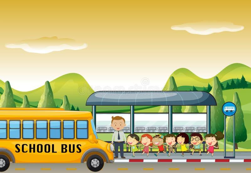Дети получая на школьном автобусе на автобусной остановке бесплатная иллюстрация