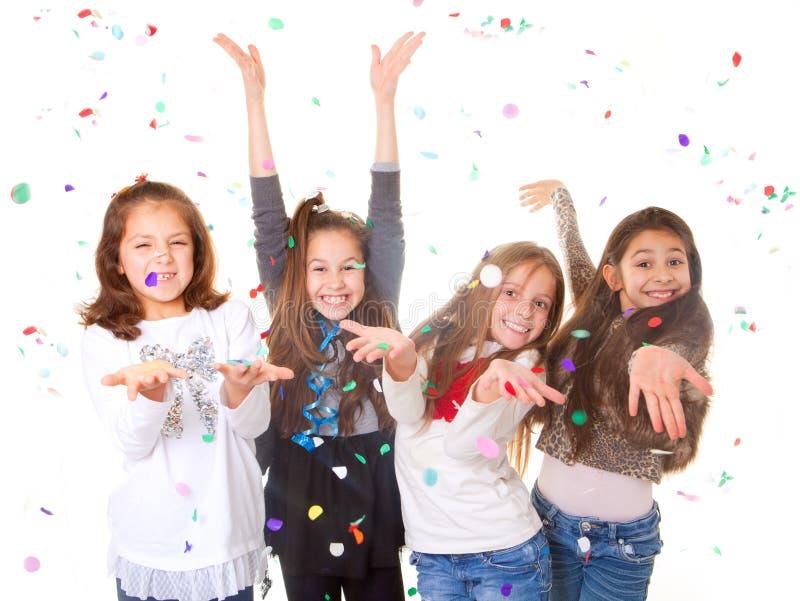Дети празднуя партию стоковое фото