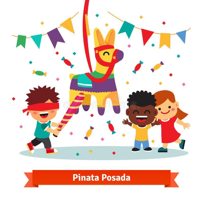 Дети празднуя Posada путем ломать Pinata иллюстрация вектора