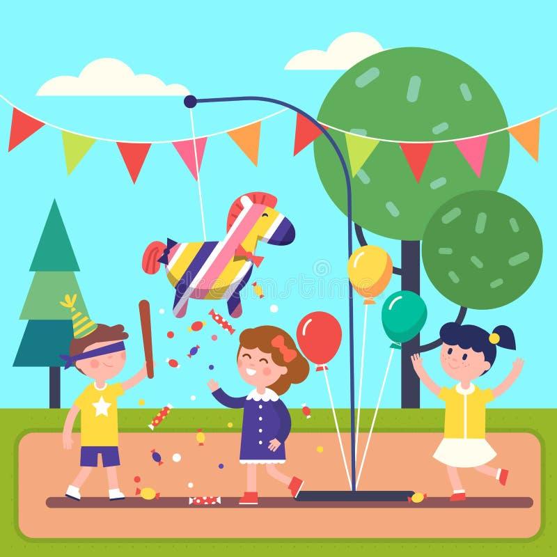 Дети празднуя Posada путем ломать Pinata бесплатная иллюстрация