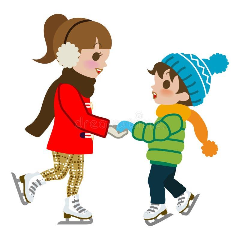 Дети практикуя изолированный конек льда, иллюстрация штока