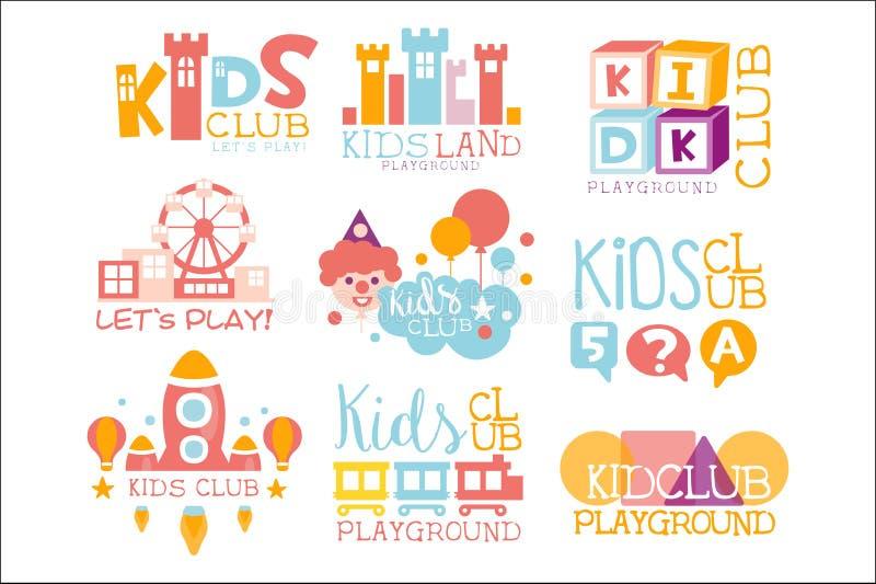 Дети приземляются спортивная площадка и клуб развлечений установил ярких знаков Promo цвета для играя детей космоса иллюстрация вектора