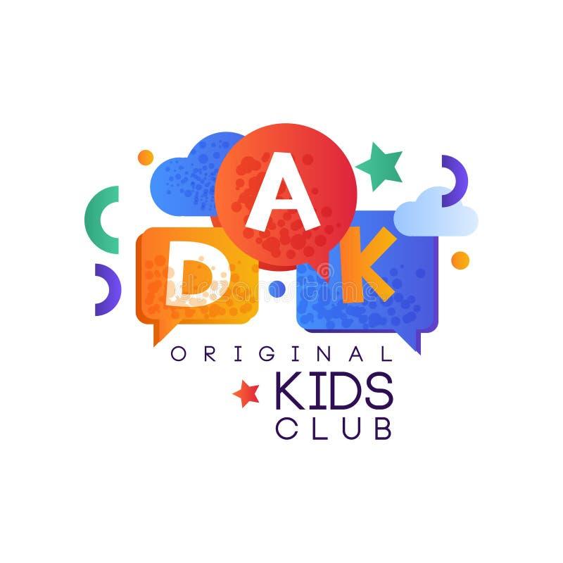 Дети приземляются шаблон логотипа клуба первоначально, творческий ярлыка, спортивная площадка, развлечения или воспитательный век иллюстрация вектора