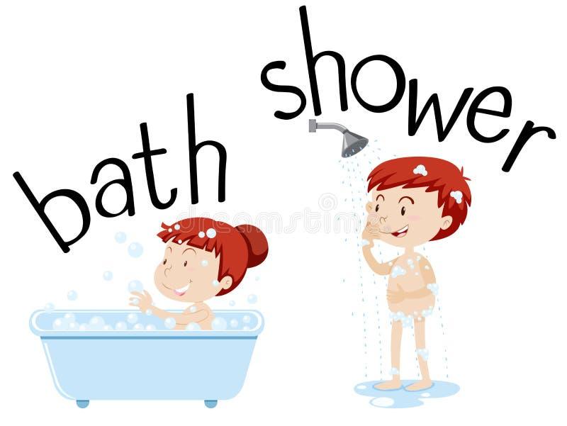 Дети принимая ванну и ливень иллюстрация штока