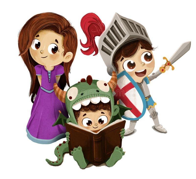 Дети принцессы и дракона рыцаря иллюстрация вектора