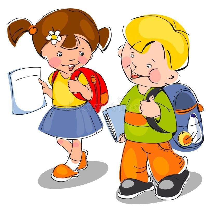 дети приходят школа к бесплатная иллюстрация