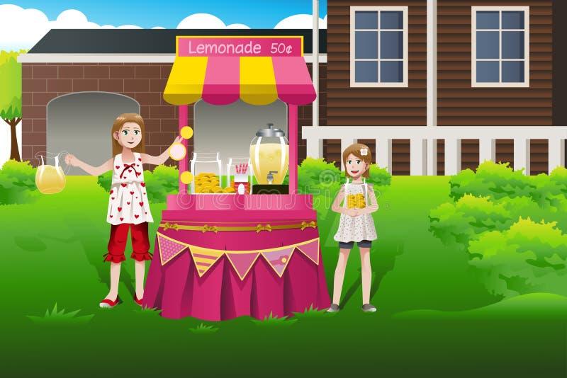 Дети продавая лимонад бесплатная иллюстрация