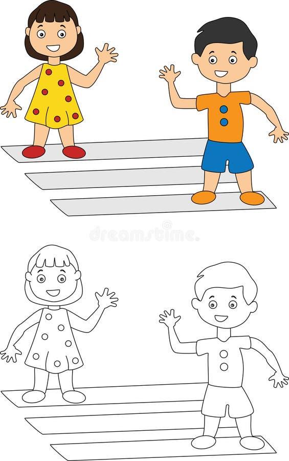 Дети развевая на одине другого крася страницу иллюстрация вектора