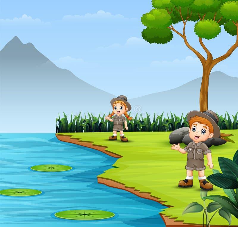 Дети разведчика говоря и исследуя в ландшафте природы иллюстрация штока