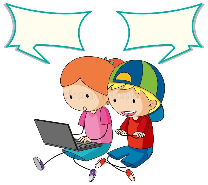 Дети разговаривая с пузырем компьютера и речи иллюстрация вектора