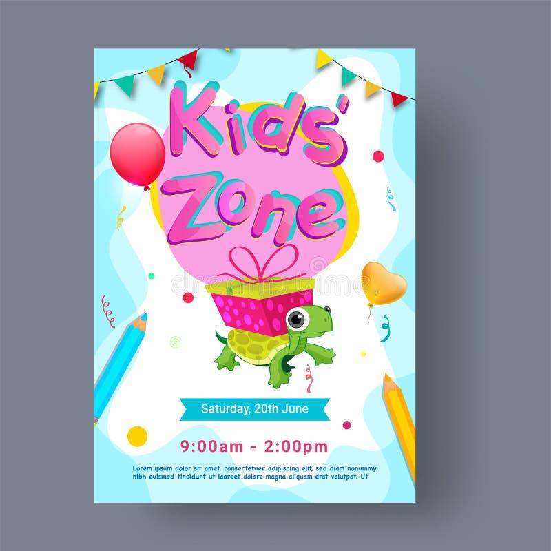 Дети разделяют на зоны, рогулька партии, знамя или дизайн плаката иллюстрация вектора
