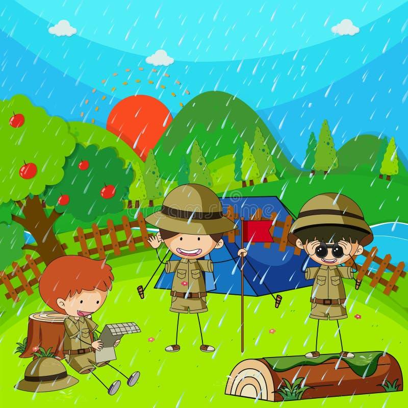 Дети располагаясь лагерем вне на дождливый день иллюстрация вектора