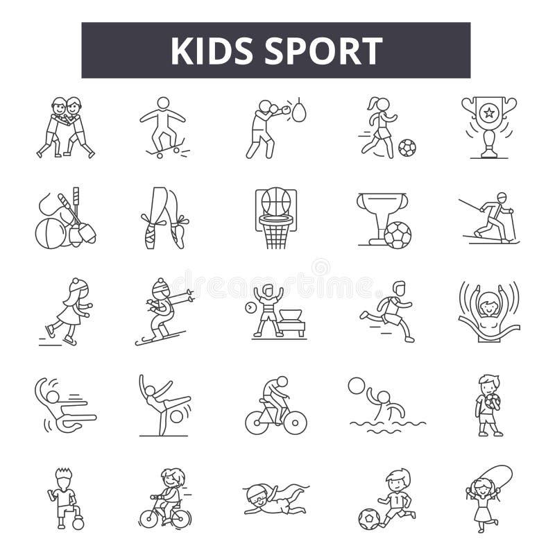 Дети резвятся линия значки, знаки, набор вектора, концепция иллюстрации плана иллюстрация вектора