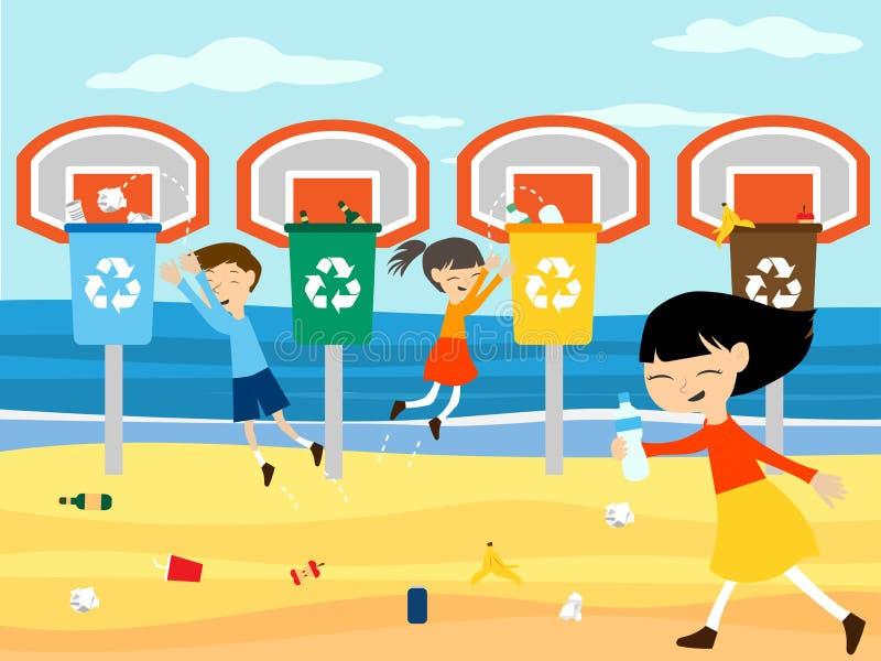 Дети рециркулируют чистый пляж играя на корзине иллюстрация вектора