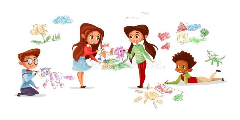 Дети рисуя иллюстрацию вектора бесплатная иллюстрация