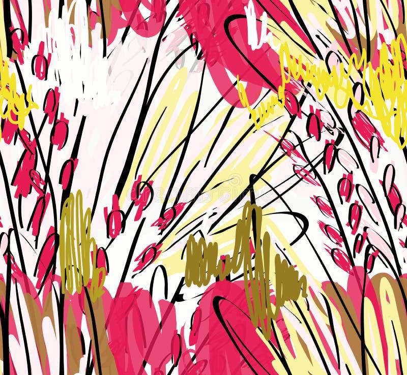 Дети рисуя и doodling с щеткой отметки и абстрактными деревьями иллюстрация штока