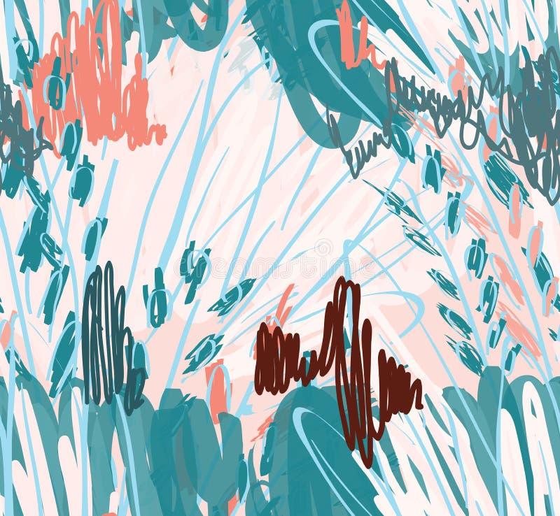 Дети рисуя и doodling с щеткой отметки и абстрактными деревьями бесплатная иллюстрация
