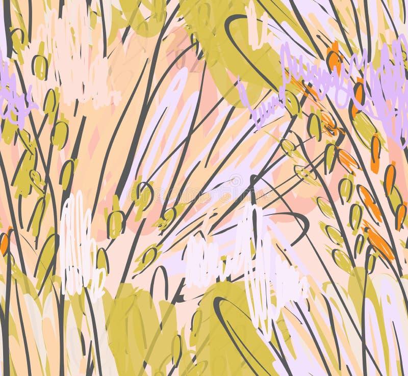 Дети рисуя и doodling с щеткой отметки и абстрактными деревьями иллюстрация вектора