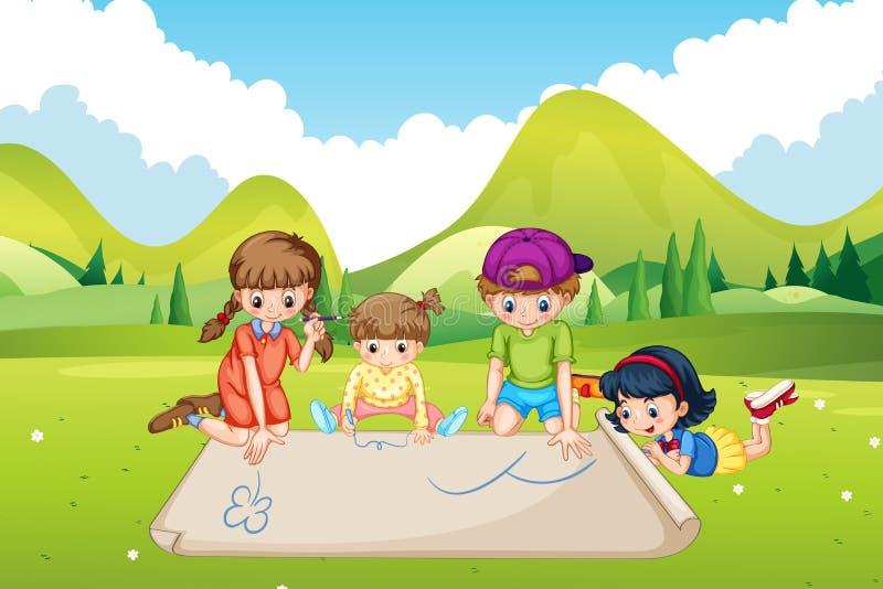 Дети рисуя на бумаге в парке бесплатная иллюстрация