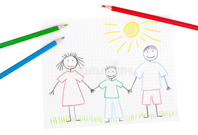 дети рисуя семью счастливый s стоковая фотография