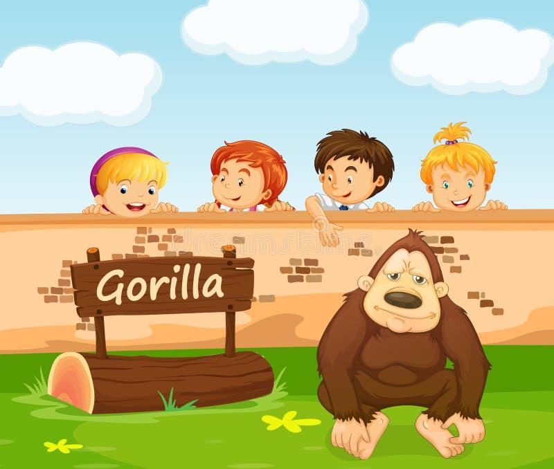 Дети смотря гориллу в зоопарке иллюстрация вектора