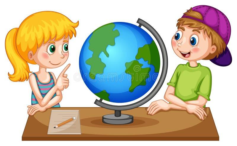 Дети смотря глобус на таблице иллюстрация вектора