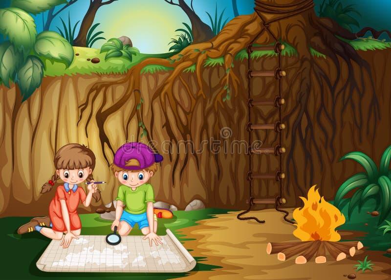 Дети смотря карту в джунглях иллюстрация вектора