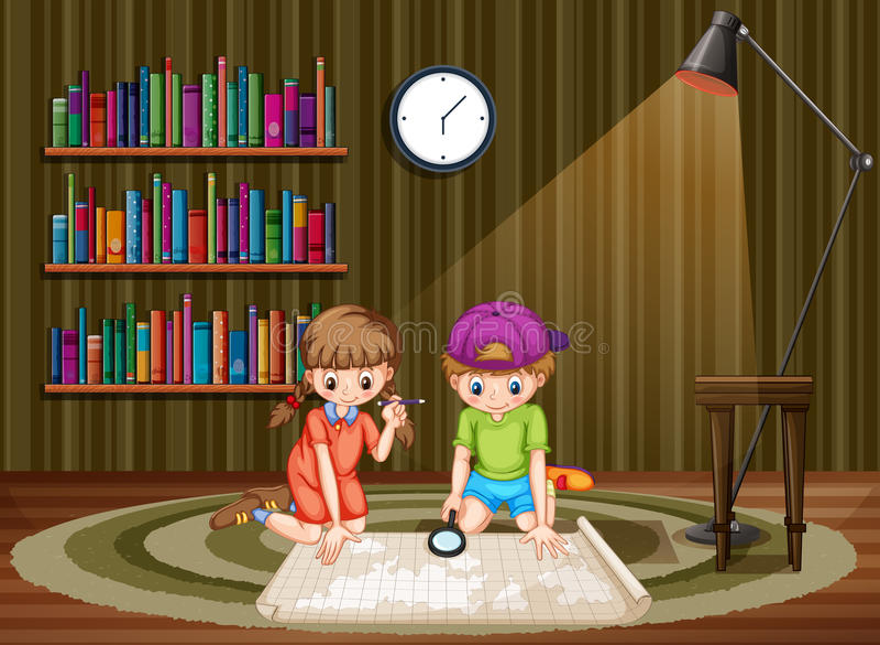 Дети смотря карту в комнате иллюстрация штока