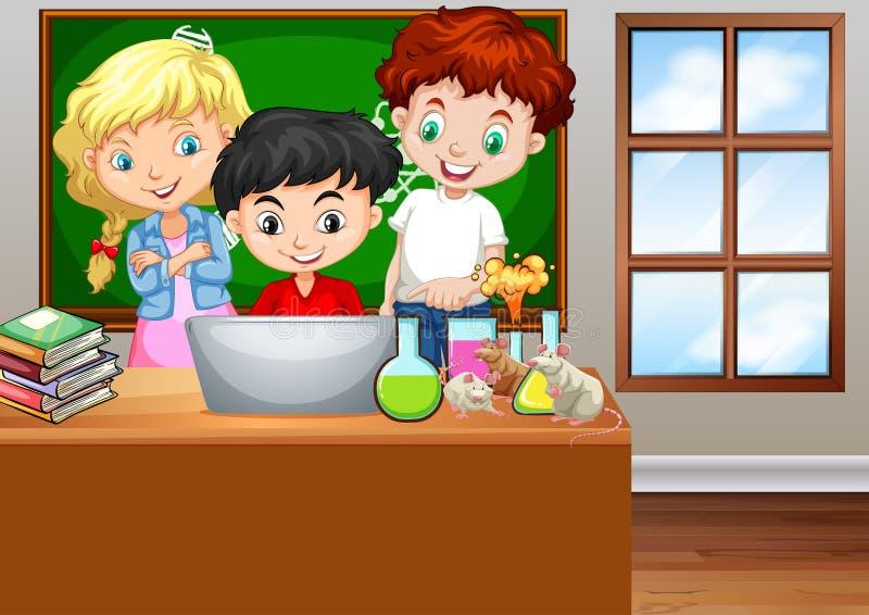 Дети смотря компьютер в классе иллюстрация штока