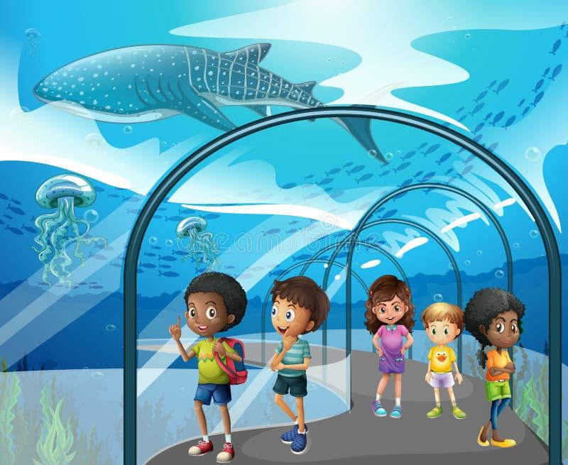 Дети смотря рыб в аквариуме иллюстрация вектора