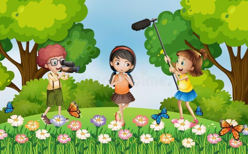 Дети снимая видео в парке иллюстрация вектора