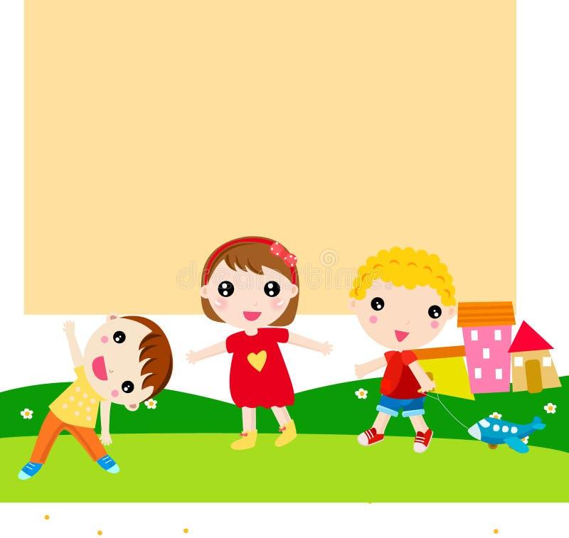 дети собирают счастливое иллюстрация вектора