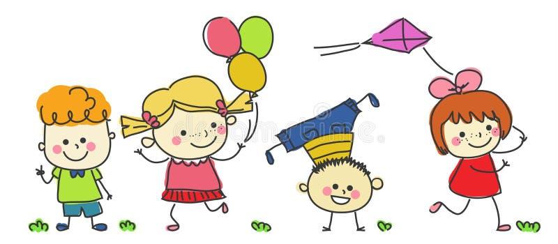 дети собирают счастливое бесплатная иллюстрация