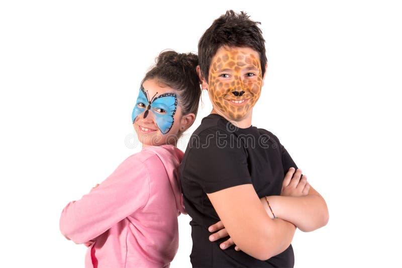 Дети со сторон-краской стоковая фотография