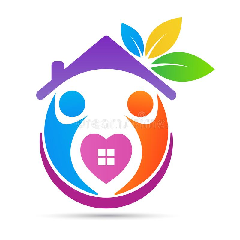 Дети старейшин влюбленности дома заботы людей старшие надеются логотип доверия иллюстрация штока