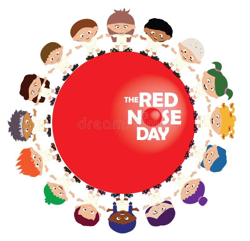 Дети стоя в круге вокруг красного знака дня носа иллюстрация штока