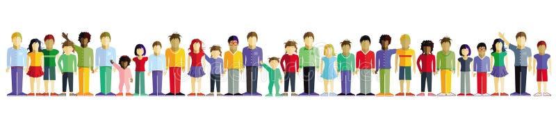 Дети стоя в линии бесплатная иллюстрация