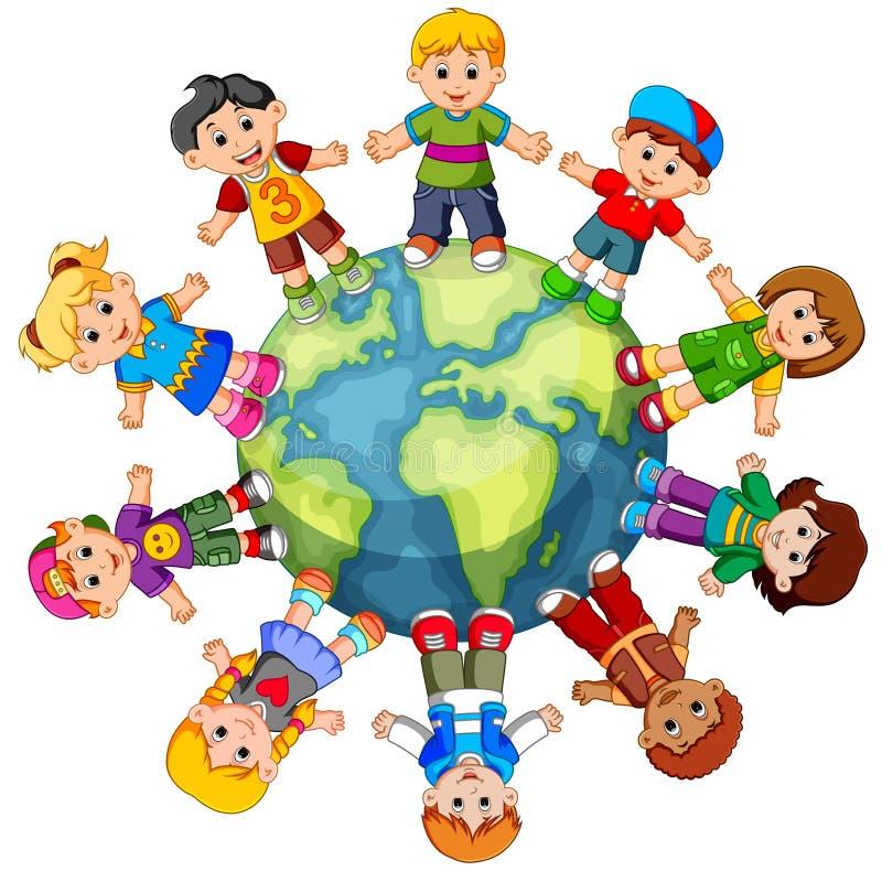 Дети стоя на глобусе бесплатная иллюстрация