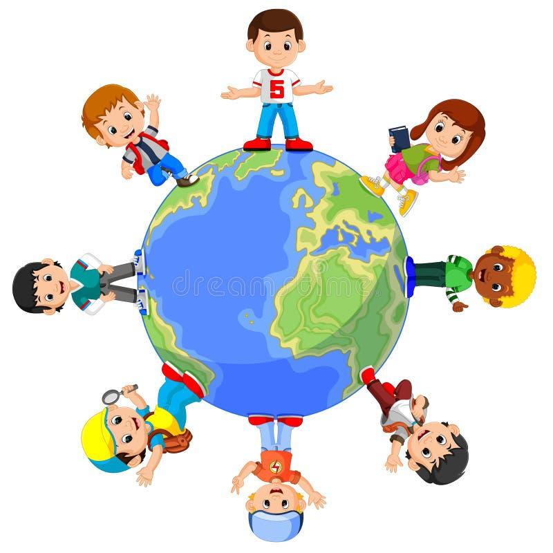 Дети стоя на глобусе иллюстрация вектора